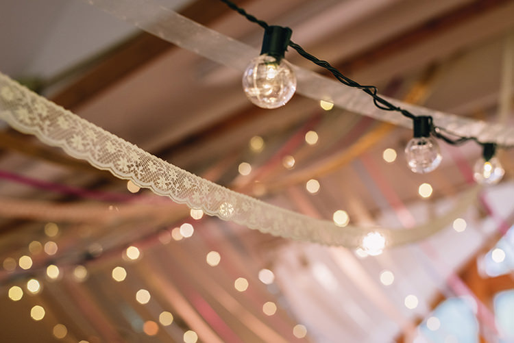 Reception Hanging Décor Fairy Lights Multicoloured Ribbons Lace Woodland Waterfall Mint Wedding Ontario http://www.laurenmccormickphotography.com/