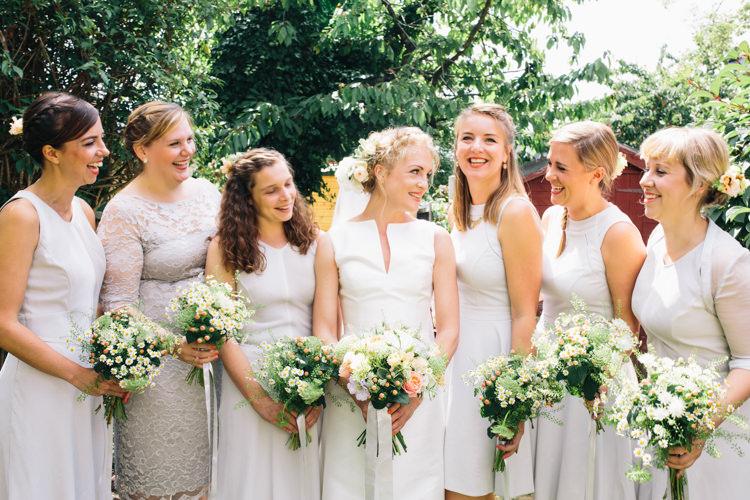 Mismatched Grey Bridesmaid Dresses Flowers Bouquets Light Pretty Peach London City Wedding http://www.katiepalmerphotography.co.uk/