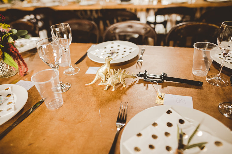Gold Dinosaurs Decor Eclectic Whimsical Village Hall Wedding http://www.nicolacasey.photography/