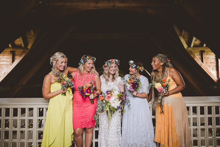 Mismatched Bridesmaids Flower Crowns Eclectic Whimsical Village Hall Wedding http://www.nicolacasey.photography/
