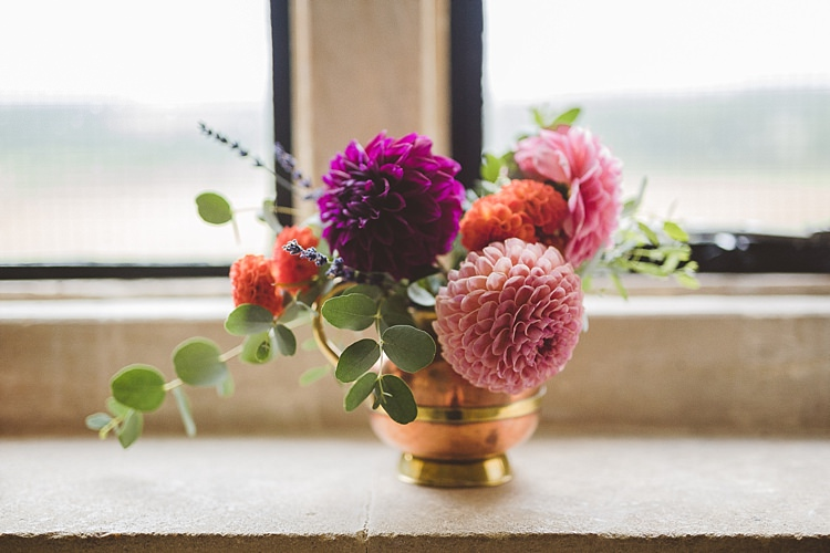 Flowers Dahlias Pink Orange Purple Eclectic Whimsical Village Hall Wedding http://www.nicolacasey.photography/