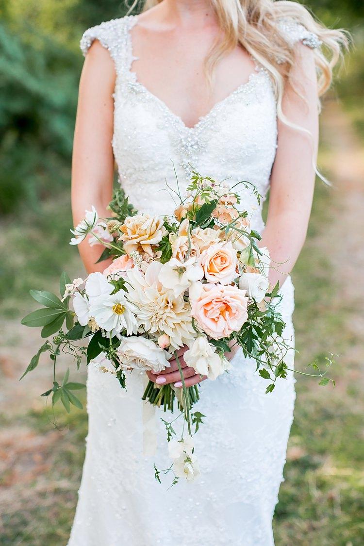Dahlia Rose Bouquet Flowers White Ivory Bride Bridal Romantic Summer Country Blush Wedding http://katherineashdown.co.uk/