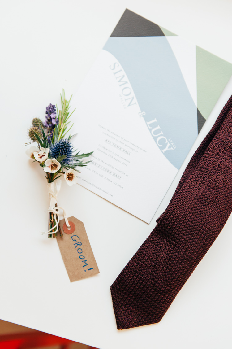 Groom Buttonhole Accessories Seaside Country Farm Pale Blue Marquee Wedding http://loveandadventures.co.uk/