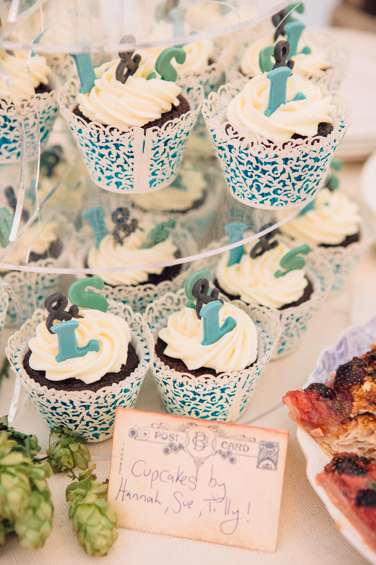 Cupcakes Seaside Country Farm Pale Blue Marquee Wedding http://loveandadventures.co.uk/