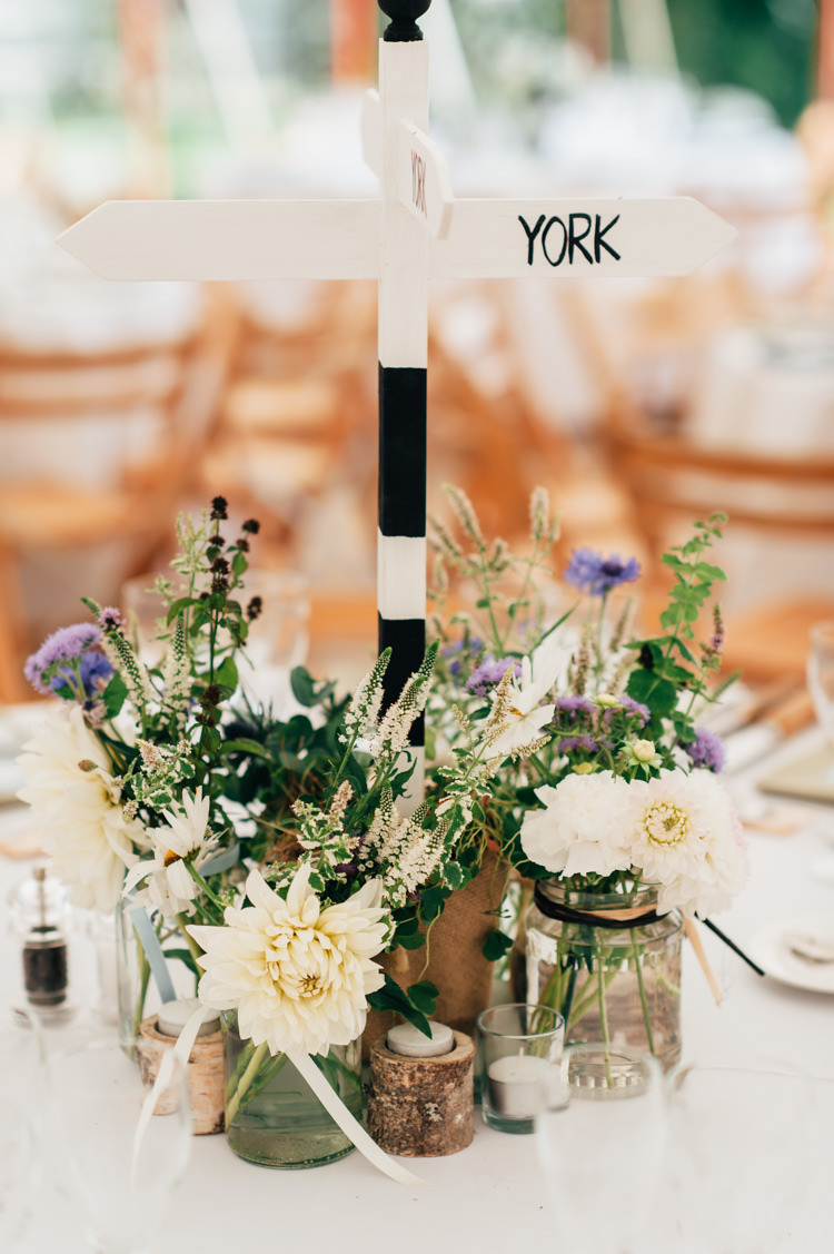 Centrepiece Decor Flowers Jars Candles Sign Post Table Seaside Country Farm Pale Blue Marquee Wedding http://loveandadventures.co.uk/
