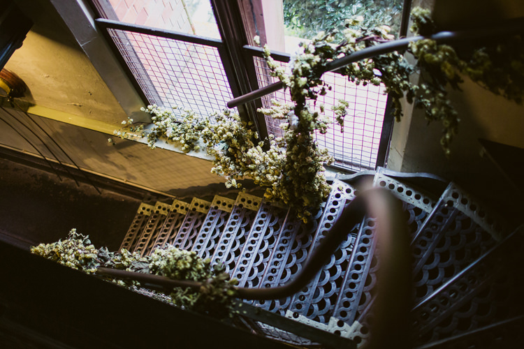 Hops Flowers Staircase Relaxed Autumnal Child Friendly Wedding http://kathrynedwardsphotography.com/