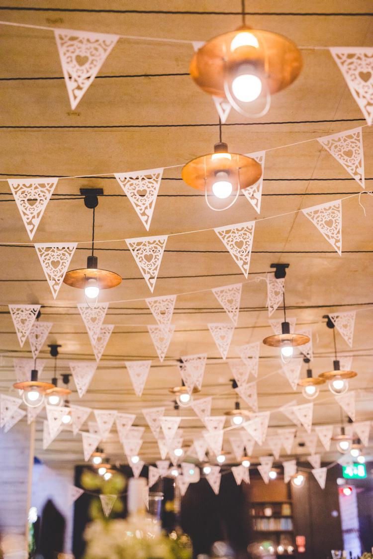 Paper Bunting Autumn Garden Books Wedding http://www.emmahillierphotography.com/