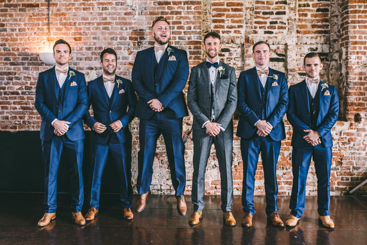 Blue Suit Groomsmen Bow Ties Tan Shoes Magical Bohemian Barn Wedding http://www.jamespowellphotography.co.uk/