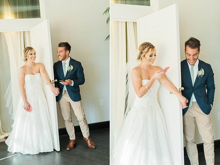 First Touch Bride Lace Sweetheart Stapless Bridal Gown Veil Groom Navy Jacket Beige Pants Light Green Tie Soft Blush Sage Green Wedding California http://julia-rosephotography.com/