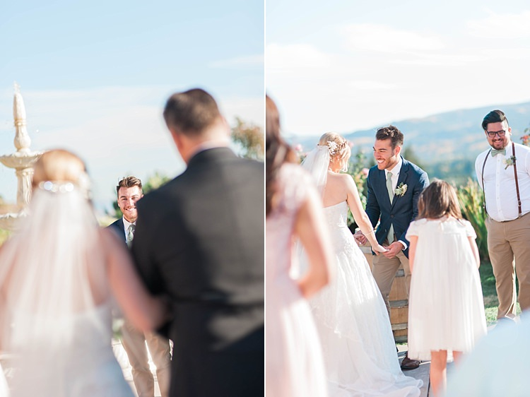 Outdoor Ceremony Bride Lace Sweetheart Strapless Bridal Gown Veil Father Groom Navy Jacket Beige Pants Light Green Tie Groomsmen Bridesmaids Soft Blush Sage Green Wedding California http://julia-rosephotography.com/
