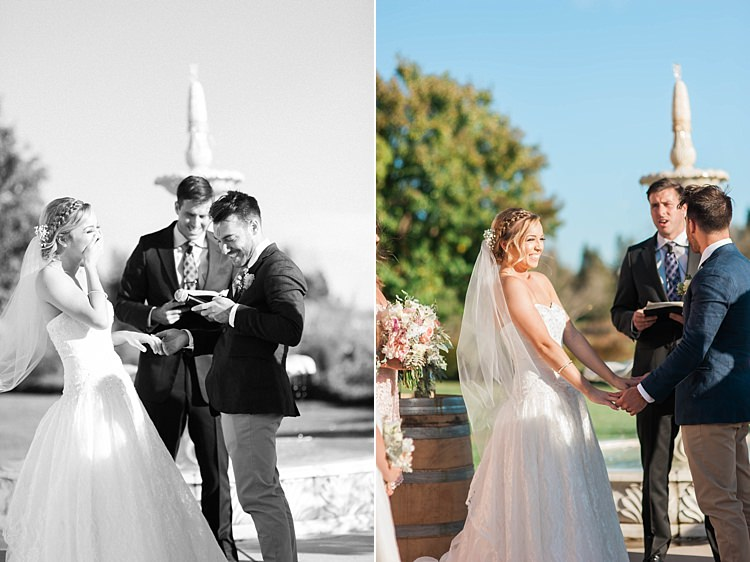 Outdoor Ceremony Bride Lace Sweetheart Strapless Bridal Gown Veil Groom Navy Jacket Beige Pants Light Green Tie Celebrant Water Fountain Soft Blush Sage Green Wedding California http://julia-rosephotography.com/