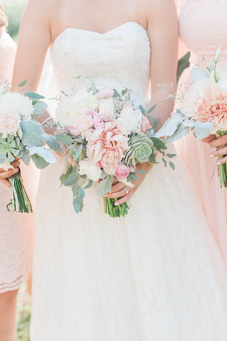 Bouquets White Pink Green Dahlia Peony Succulent Florals Bride Lace Sweetheart Strapless Bridal Gown Bridesmaids Blush Multi Style Dresses Soft Blush Sage Green Wedding California http://julia-rosephotography.com/