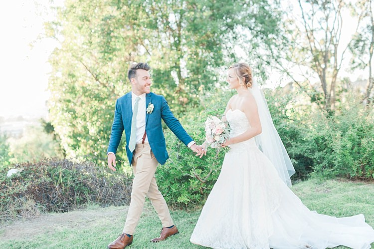 Bride Lace Sweetheart Strapless Bridal Gown Veil Gypsophila Bouquet White Pink Green Dahlia Peony Succulents Groom Navy Jacket Light Green Tie Beige Pants Brown Leather Shoes Soft Blush Sage Green Wedding California http://julia-rosephotography.com/