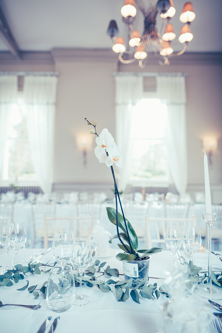 Orchid Potted Plant Decor Eucalyptus Runners Fun Stylish City Hall Wedding http://www.terryliphotography.co.uk/