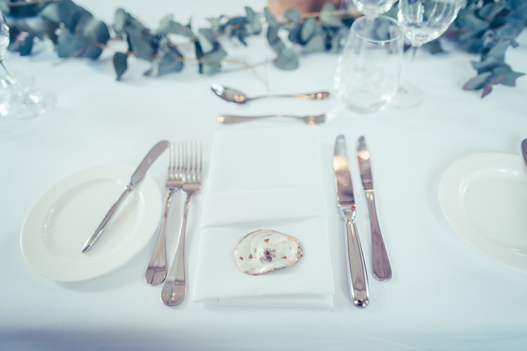 Oyster Shell Place Names Fun Stylish City Hall Wedding http://www.terryliphotography.co.uk/