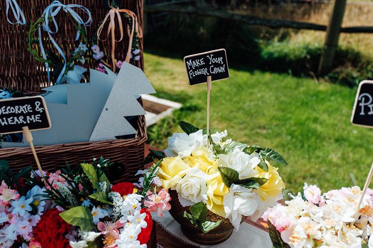 Flower Crown Crafting Station Fun DIY Barn Farm Summer Wedding http://www.annapumerphotography.com/