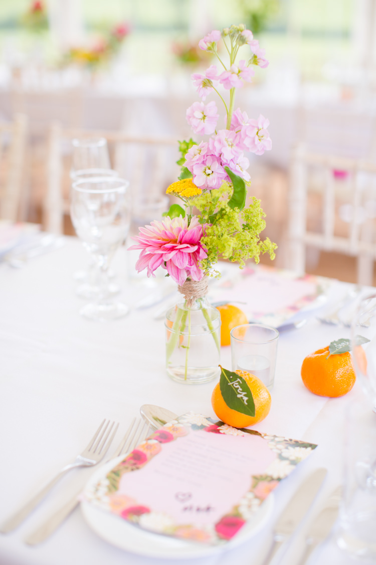 Bottle Flowers Wild Summer Table Decor Centrepiece Colourful Pastel Home Made Farm Wedding http://helencawtephotography.com/