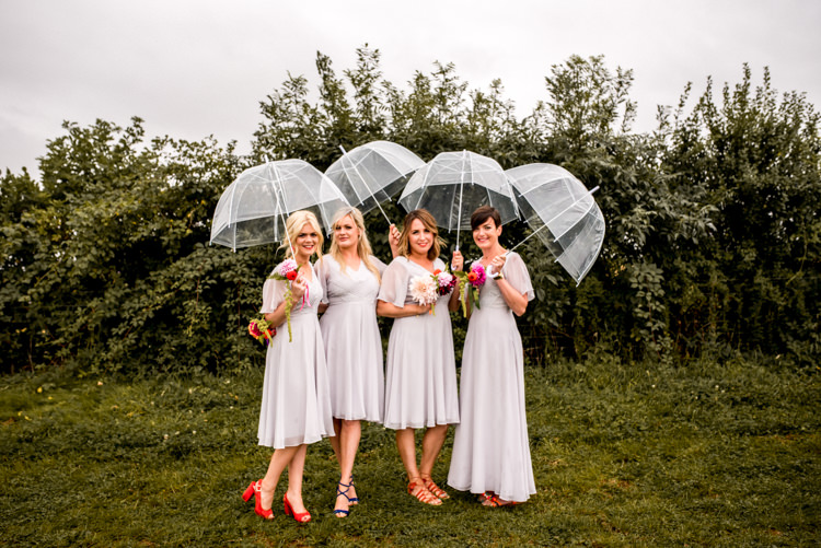 ASOS Bridesmaid Dresses Rainy Umbrella Multicoloured Home Made Glamping Wedding http://www.michellewoodphotographer.com/