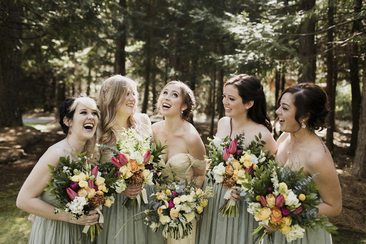 Bride Sarah Seven Cascade Lace Off The Shoulder Bridal Gown Bridesmaids Green Strapless Dresses Multicoloured Bouquets Yellow Cream Pink Roses Peonies Lillies Whimsical Forest Harry Potter Wedding http://heatherelizabethphotography.com/