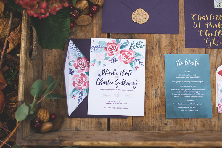 Stationery Fl Purple Red Gold Magical Autumn Outdoorsy Woodland Wedding Ideas Kirstymackenziephotography