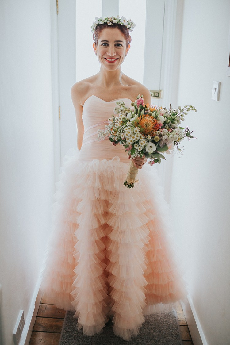 Ruffle Strapless Gown Bride Bridal Whimsical Seaside Wedding Pale Pink Dress http://devlinphotos.co.uk/