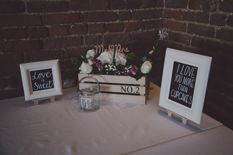 Crate Flowers Decor Signs Table Chic Rustic Grey Barn Wedding http://www.kevelkinsphotography.co.uk/