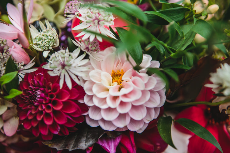 Colourful Bouquet Pink Relaxed Cosy Stylish Autumnal Wedding http://www.tierneyphotography.co.uk/
