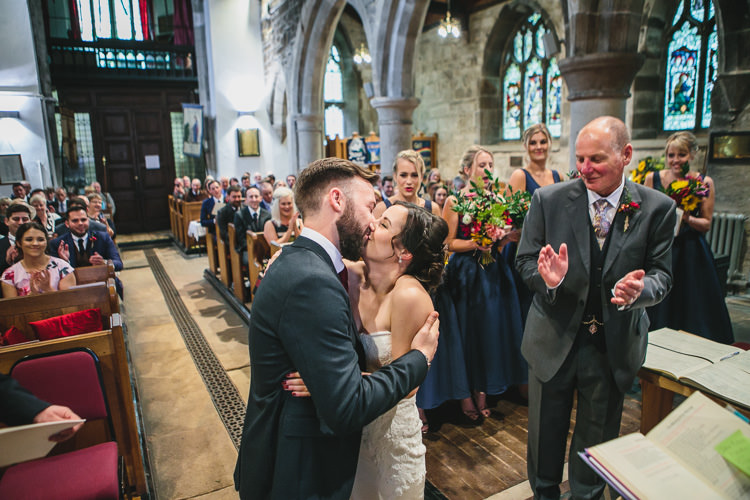 Church Kiss Relaxed Cosy Stylish Autumnal Wedding http://www.tierneyphotography.co.uk/