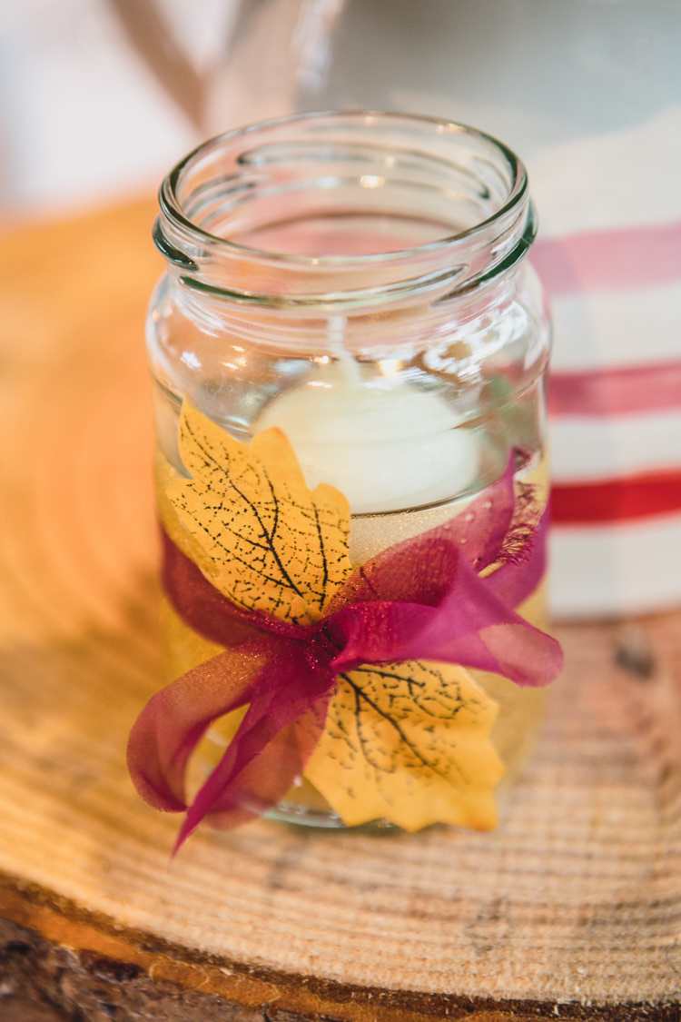 Autumn Leaves Candle Jar Relaxed Cosy Stylish Autumnal Wedding http://www.tierneyphotography.co.uk/