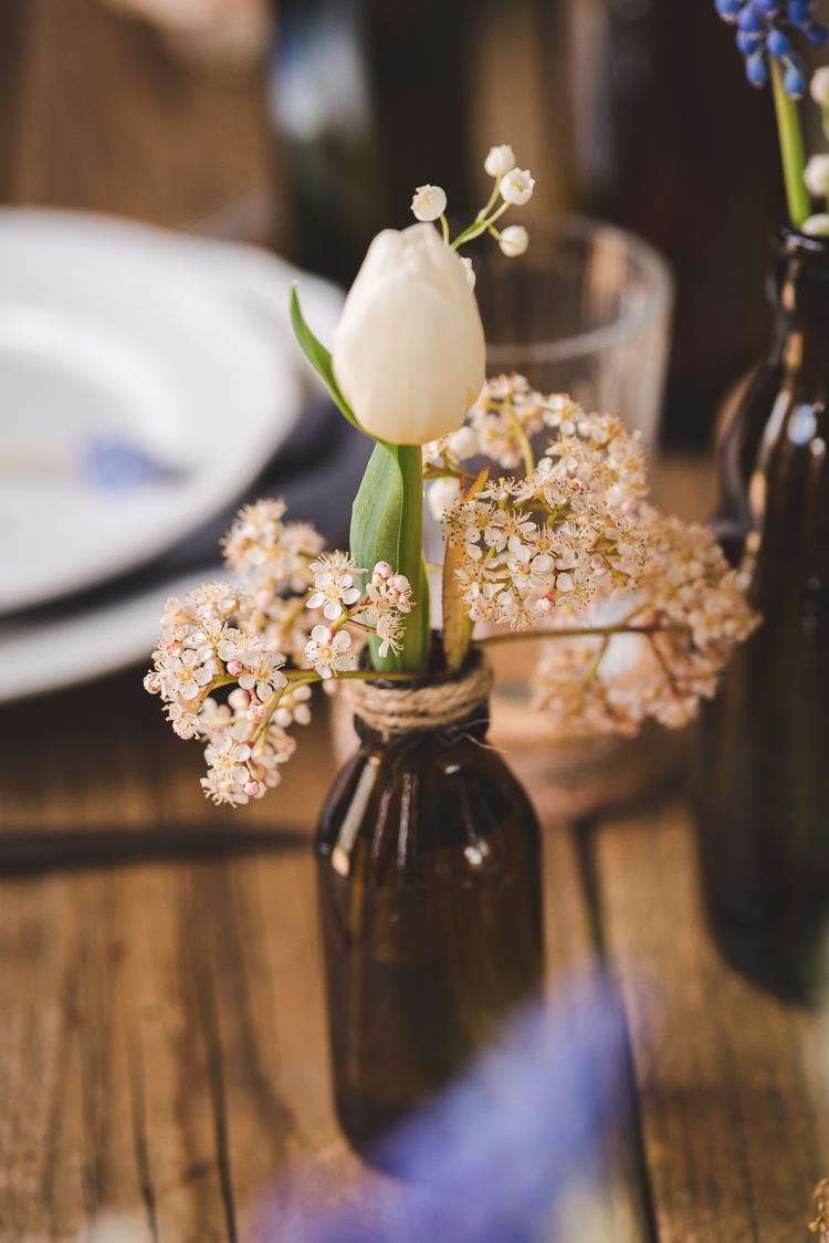 Tulip Bottle Flowers Magical Spring Bluebell Woodland Wedding Ideas http://helinebekker.co.uk/