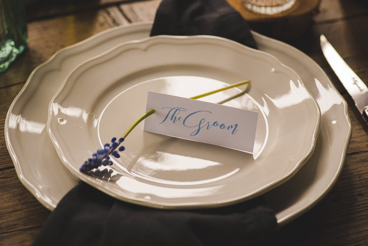 Calligraphy Place Name Card Magical Spring Bluebell Woodland Wedding Ideas http://helinebekker.co.uk/