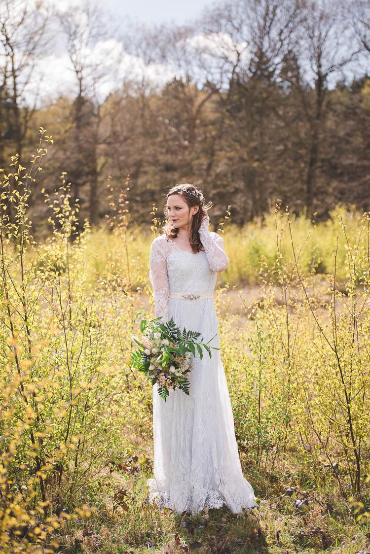 Katya Katya Shehurina Blue Lace Dress Sleeves Magical Spring Bluebell Woodland Wedding Ideas http://helinebekker.co.uk/