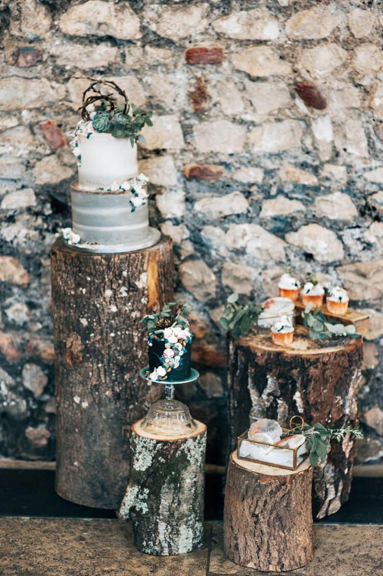 Log Tree Stump Cake Stand Table Bohemian Mermaid Wedding Ideas https://www.elizaclaire.com/