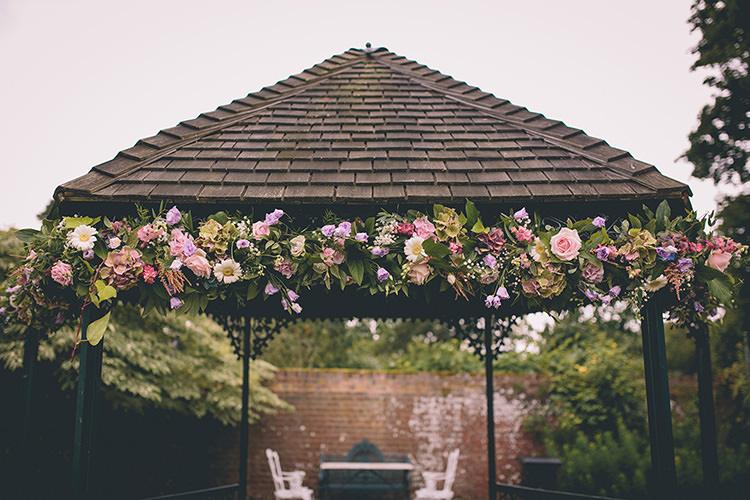 Flower Arch Arbour Gazebo Ceremony Outdoor Homespun Fun Country Barn Wedding http://storyandcolour.co.uk/