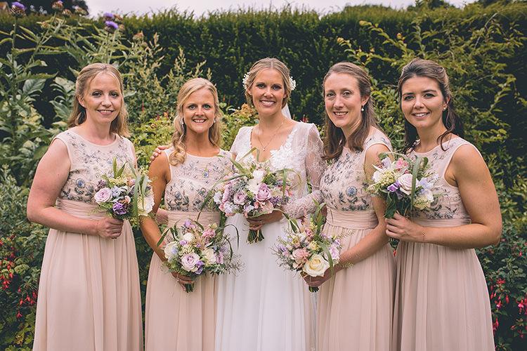Long Blush Bridesmaid Dresses Jenny Packham Homespun Fun Country Barn Wedding http://storyandcolour.co.uk/