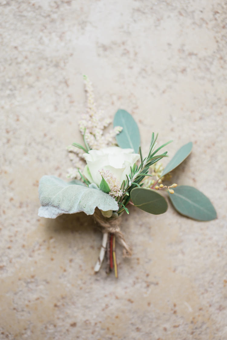 Rose Rosemary Twine Buttonhole Foliage White Whimsical Elegant Classic Wedding http://katymelling.com/