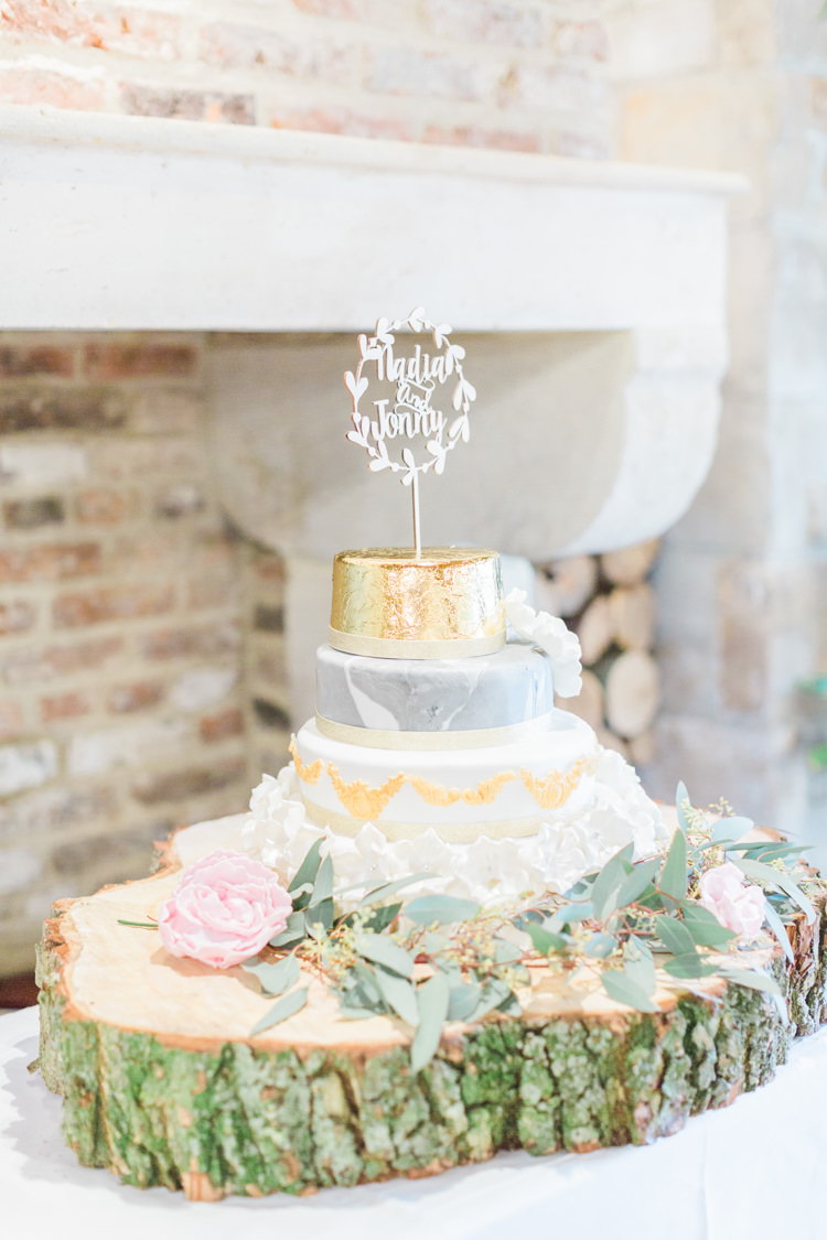 Cake Metalic Gold Grey Log Stand Whimsical Elegant Classic Wedding http://katymelling.com/