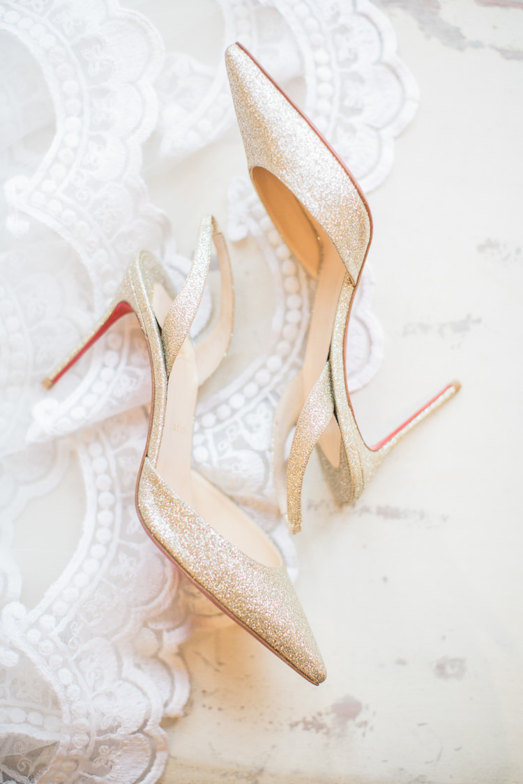 Christian Louboutin Gold Glitter Shoes Heels Bride Bridal Slingbacks Whimsical Elegant Classic Wedding http://katymelling.com/