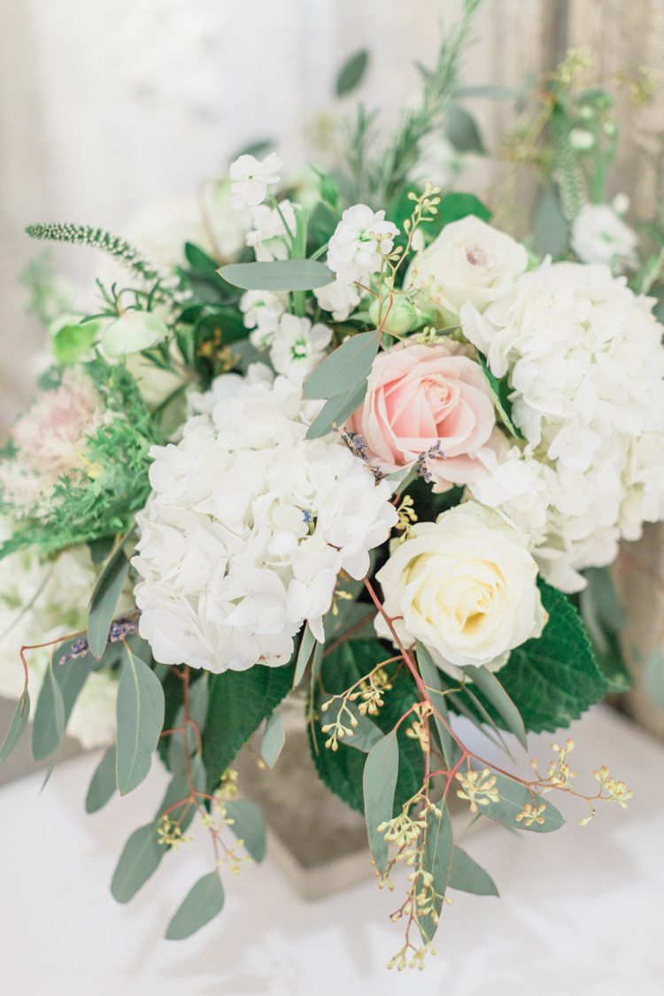 Table Flowers Decor White Cream Pink Rose Hydrangea Foliage Whimsical Elegant Classic Wedding http://katymelling.com/