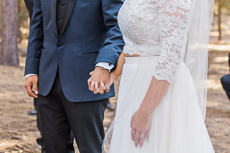 Outdoor Ceremony Bride Watters Separates Lace Top Tulle Skirt Groom Dark Blue Jacket Black Satin Lapel Black Pants DIY Whimsical Camp Wedding California http://www.landbphotography.org/