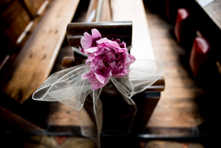 Pew End Aisle Peony Pink Flower Quirky English Garden Party Wedding http://www.michellewoodphotographer.com/