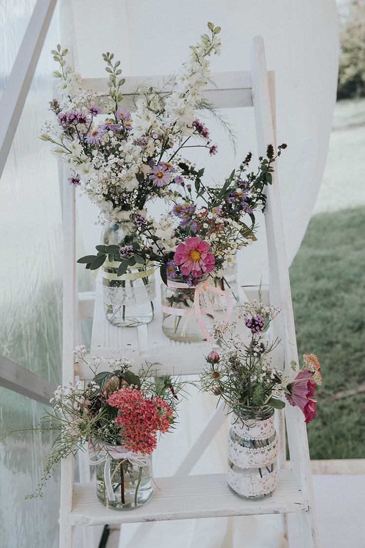 Ladder Flowers Jars Lace Ribbon Decor Beautiful Flowery Country Marquee Wedding http://www.maddiefarrisphotography.co.uk/