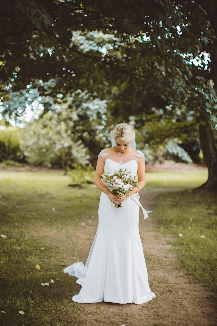 Mayfair by Suzanne Neville Dress Gown Bride Bridal Sleeves Veil Fishtail Cotswolds Country House Marquee Wedding http://www.wearegatheredheretoday.com/