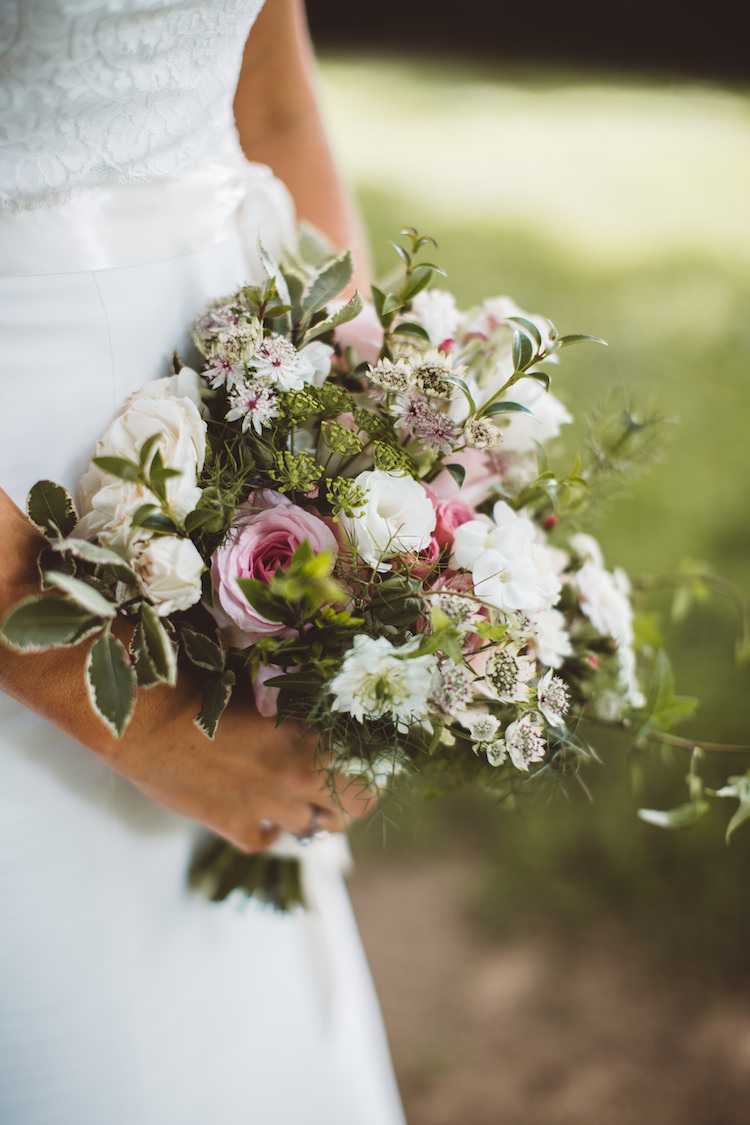 Bouquet Flowers Bride Bridal Pink White Foliage Greenery Roses Cotswolds Country House Marquee Wedding http://www.wearegatheredheretoday.com/