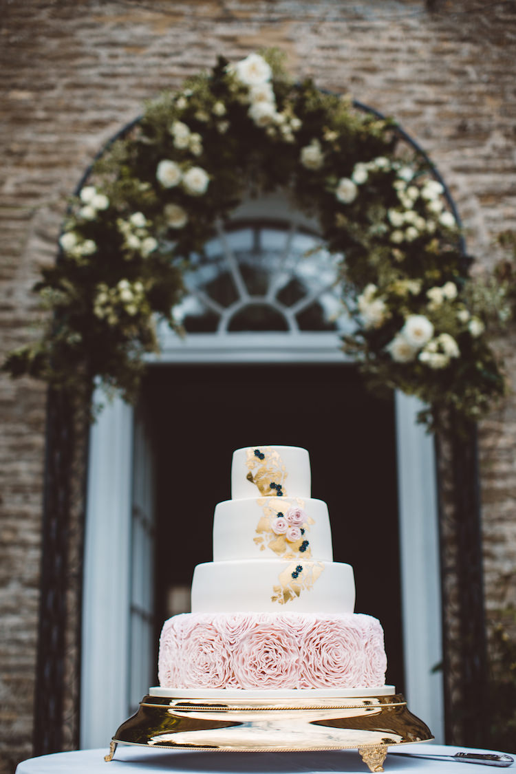 Cake Pink Ruffles Gold Leaf Cotswolds Country House Marquee Wedding http://www.wearegatheredheretoday.com/