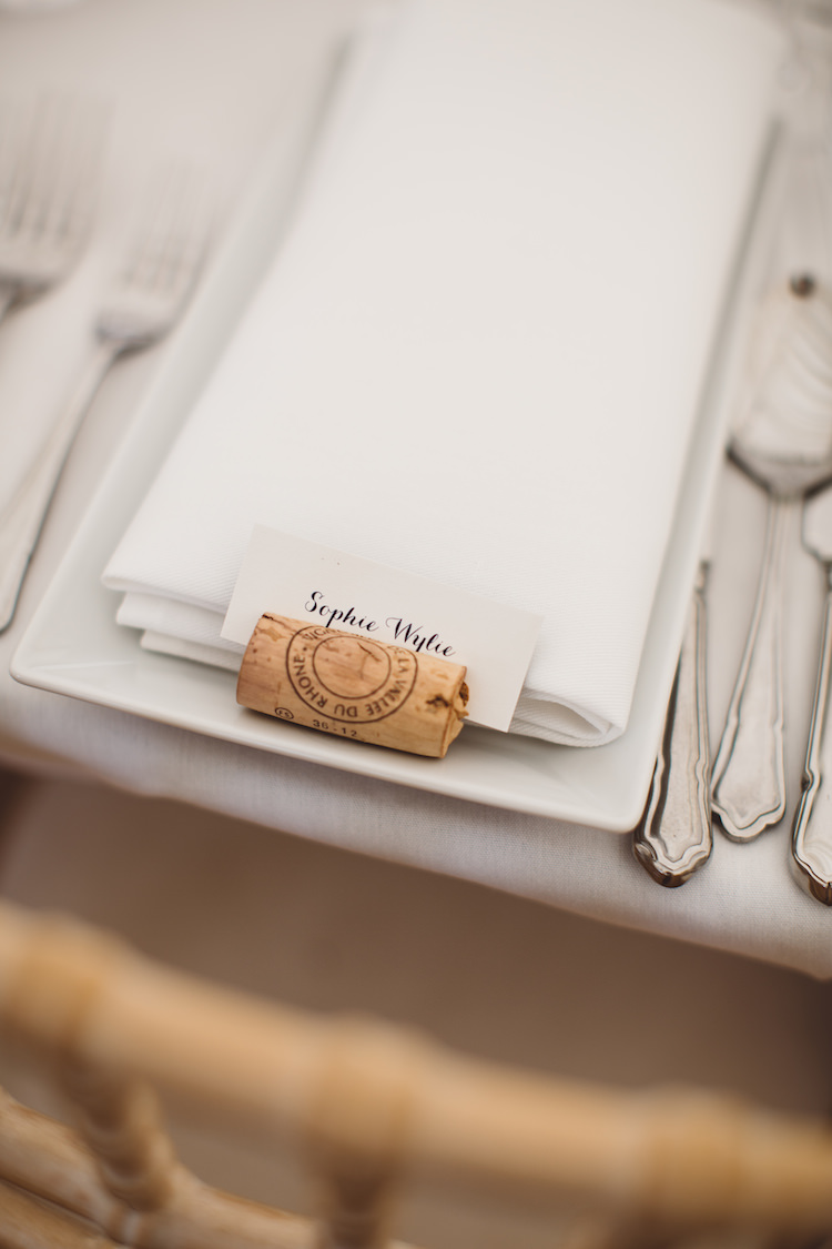 Calligraphy Cork Place Name Setting Card Cotswolds Country House Marquee Wedding http://www.wearegatheredheretoday.com/