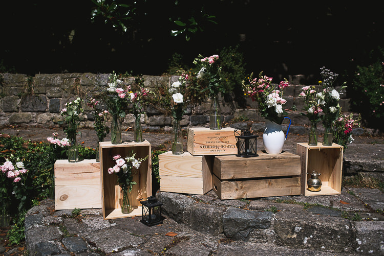 Crate Wooden Boxes Flowers Relaxed Outdoor City Park Festival Wedding http://kristianlevenphotography.co.uk/