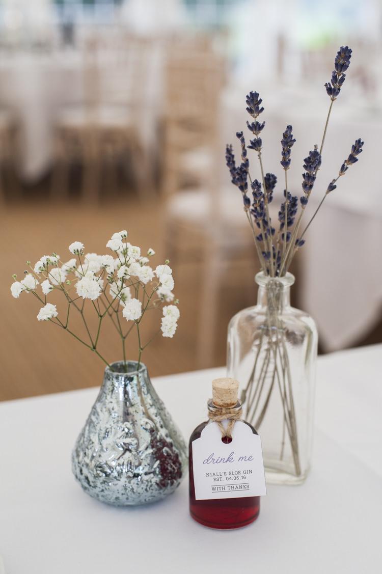 Bottle Flowers Lavender Gyp Gypsophila Whimsical Summery Lilac Wedding http://eleanorjaneweddings.co.uk/