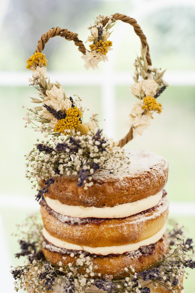 Heart Dried Flower Cake Topper Whimsical Summery Lilac Wedding http://eleanorjaneweddings.co.uk/