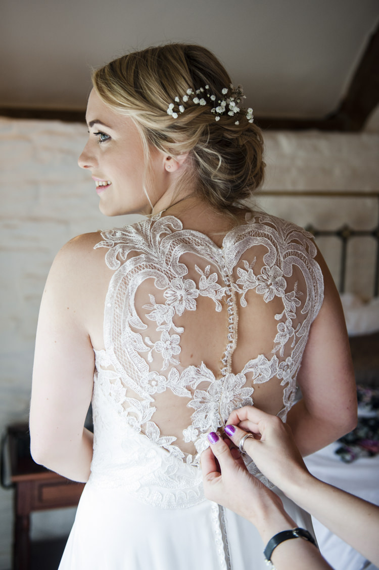 Illusion Back Dress Gown Bride Bridal Buttons Whimsical Summery Lilac Wedding http://eleanorjaneweddings.co.uk/